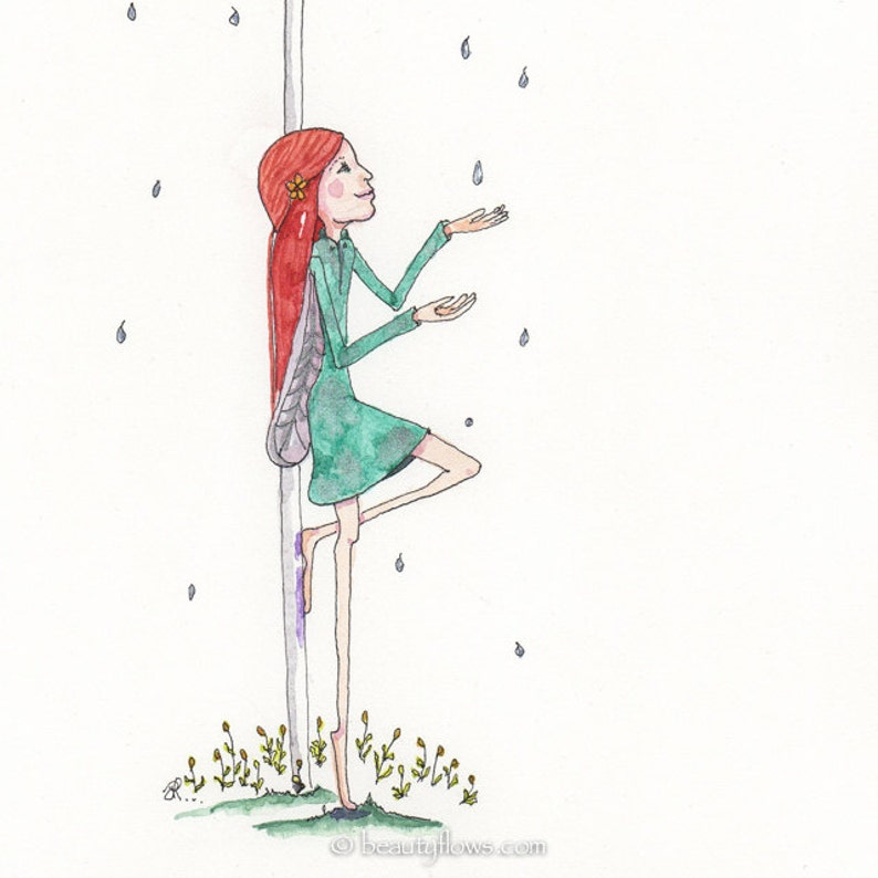 Shelter Rain Whimsy Greeting Card or Photographic Art Print image 0
