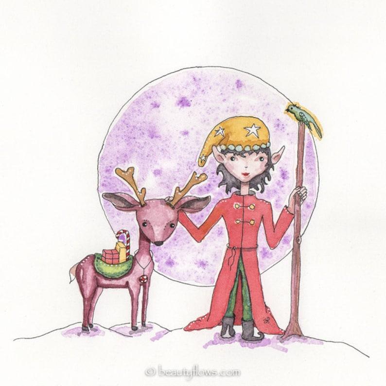 Solstice Elf Merry Christmas Elf and Reindeer Greeting card image 0