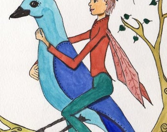 Fairy and Bird Friend, Flying together, Fairy and Bluebird, Greeting Card or Photographic Art Print