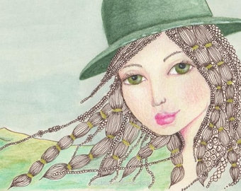 Emerald Hat a Magical Green Hat, Whimsical Hair, Photographic Art print or Greeting Card