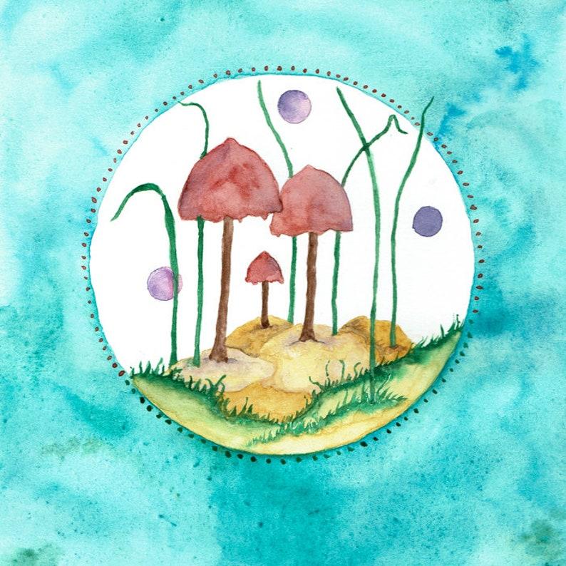 Mushroom Landscape Whimsical Art Original Watercolor image 0