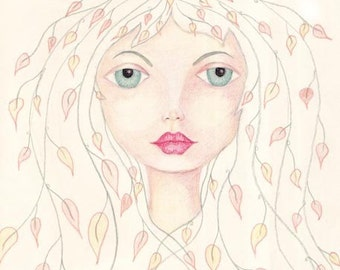 Lady Mabon, Autumn's Goddess, Leaves in Her Hair, Nature Woman, Deep Wisdom, Whimsical Leaf Hair, 5x7 art print
