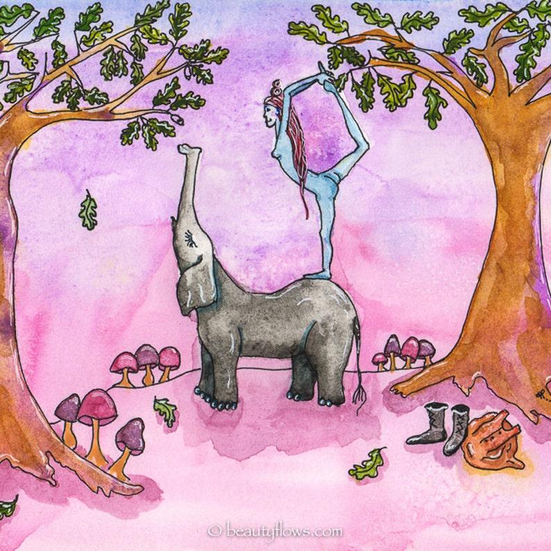 Yogini and Elephant Friend Yoga in Nature Natarajasana King image 0