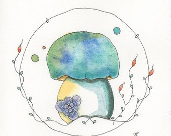 Whimsical Mushroom Painting, OOAK, Fungi, Bolete, Original painting