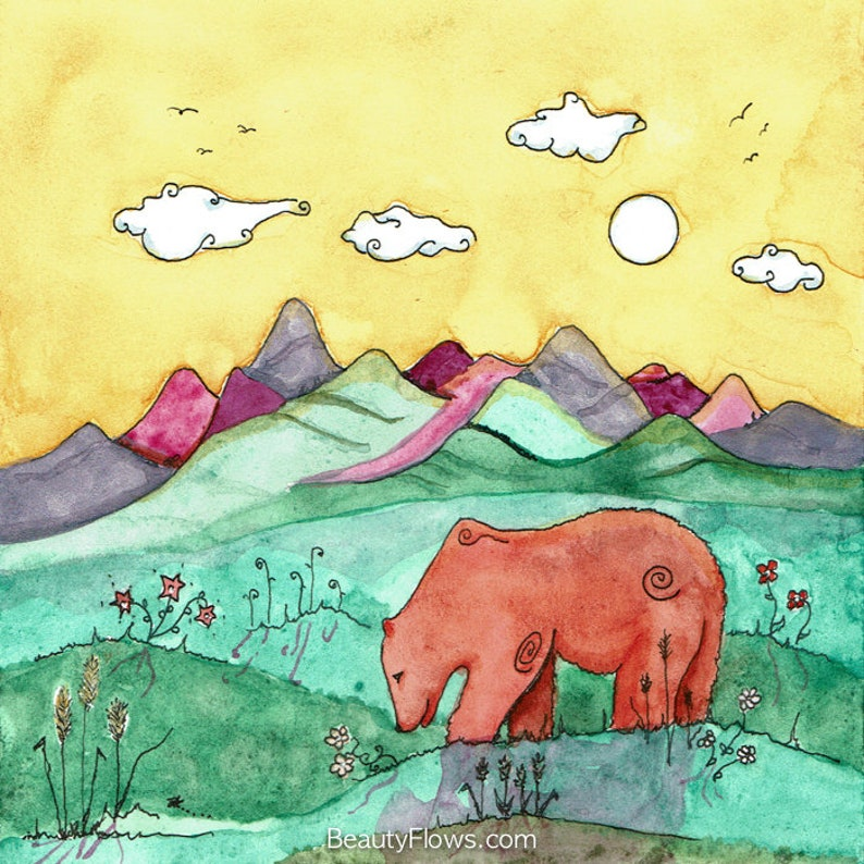 Montana Grizzly Bear Whimsical landscape Greeting Card or image 0