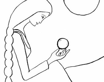 Fortune Teller, Crystal Ball, Visionary Woman, Divine Providence, Mystic, Greeting Card or Photographic Art Print