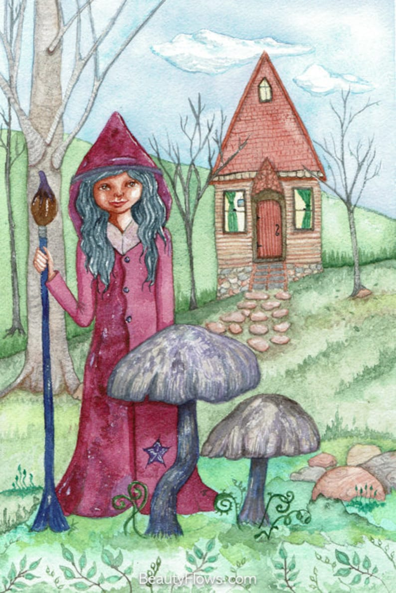 Little Artist  Witch and Her Cottage Greeting Card image 0