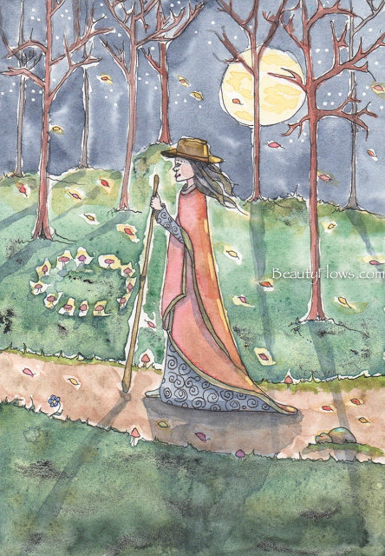Night Walker Fairy Ring Full Moon Goddess Halloween Art image 0