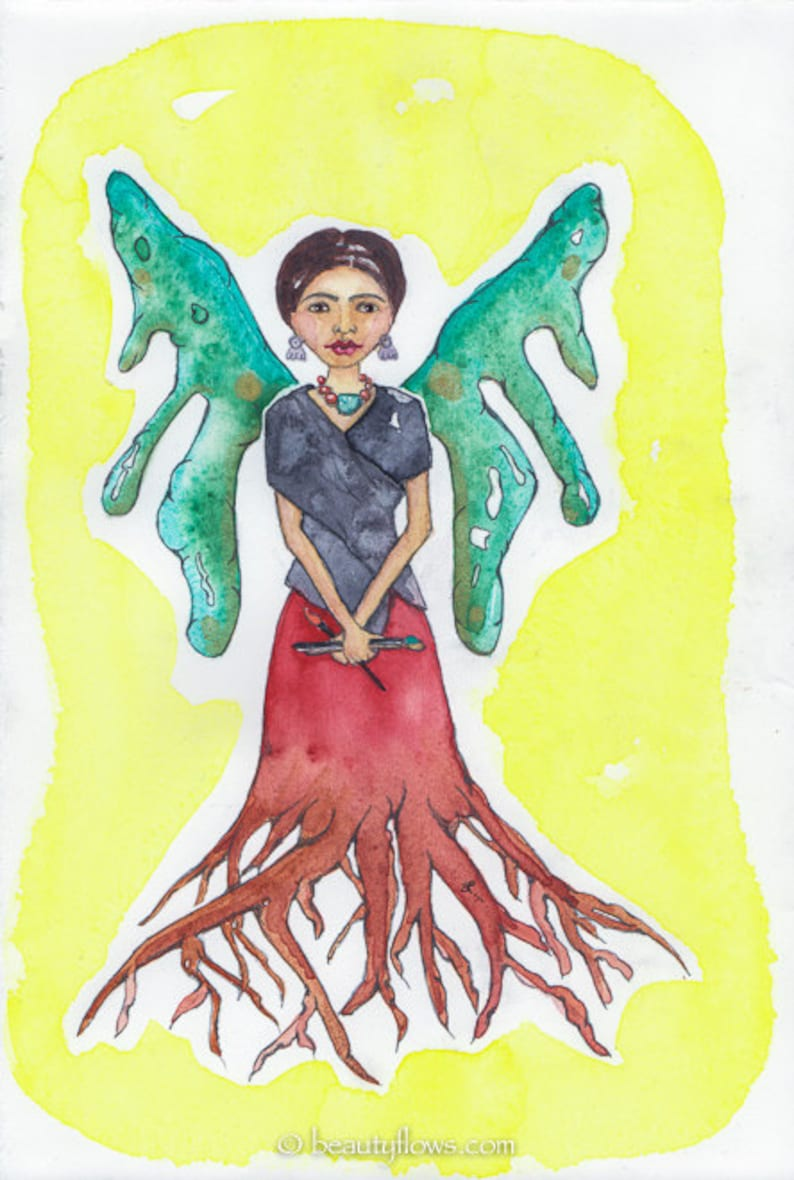 Frida with Wings and Roots Greeting card or Photographic Art image 0