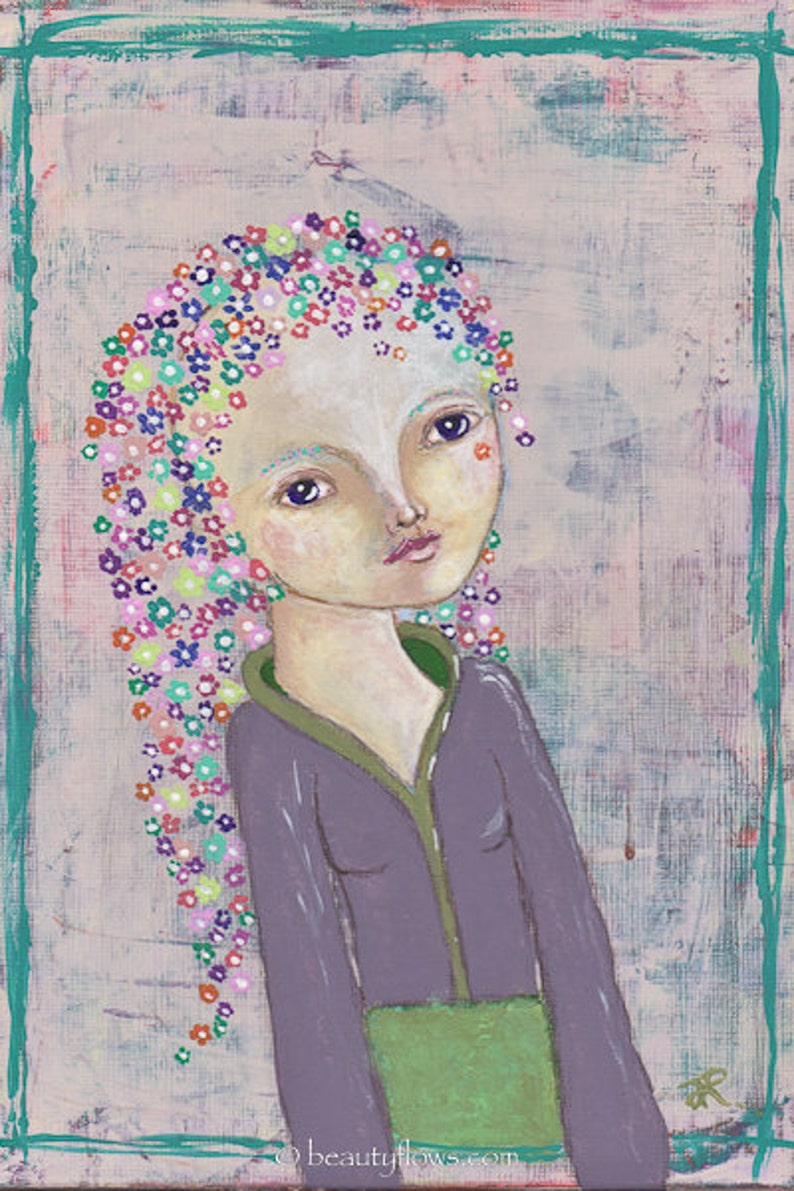 She Wears Flowers in her Hair Spring Greeting Card or image 0