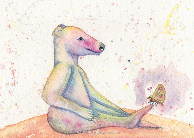 Little Bear and Butterfly Original Art OOAK Collectible image 0