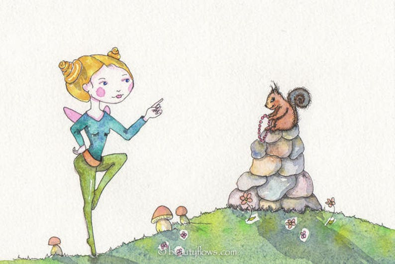 Fairy and Squirrel OOAK Original Watercolor painting image 0