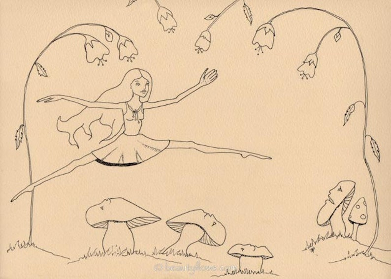 Fairy Leaping Mushrooms in Art Fantasy Greeting Card or image 0