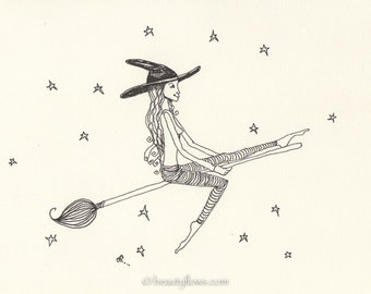 Yoga on her Broom, Artist with Paintbrush, Little Witch doing Yoga, Greeting Card or Photogaphich Art Print