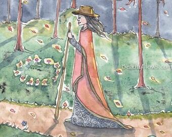 Autumn Full Moon Walk, Forest Walking, OOAK Original watercolor painting