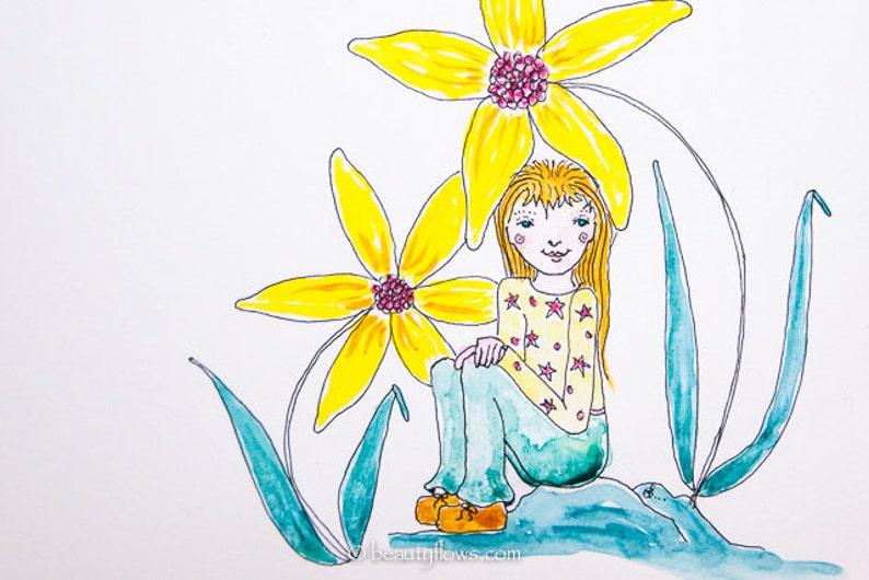 Flower Fairy Spring Greeting Card Sunflower Girl Tiny Girl image 0
