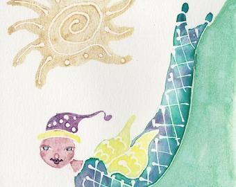 Mermaid Painting, OOAK, Whimsical art, Original Watercolor, Ocean art