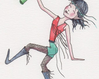 Tipsy Pixie, Wine Lover, Greeting card or Print