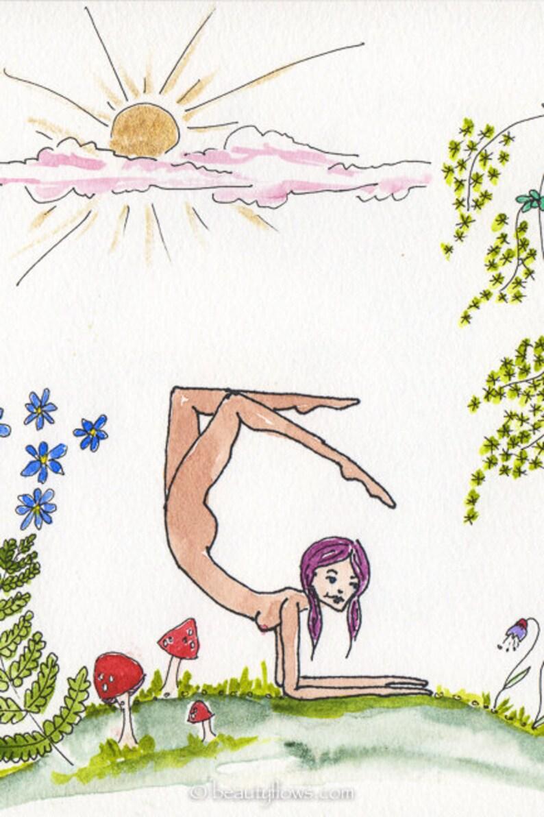 Nature Yogini Nude Yogini Yoga in Nature Greeting Card or image 0