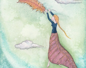 Magical Flight, Flying on a Feather, Peaceful Feeling, OOAK, Watercoulor painting