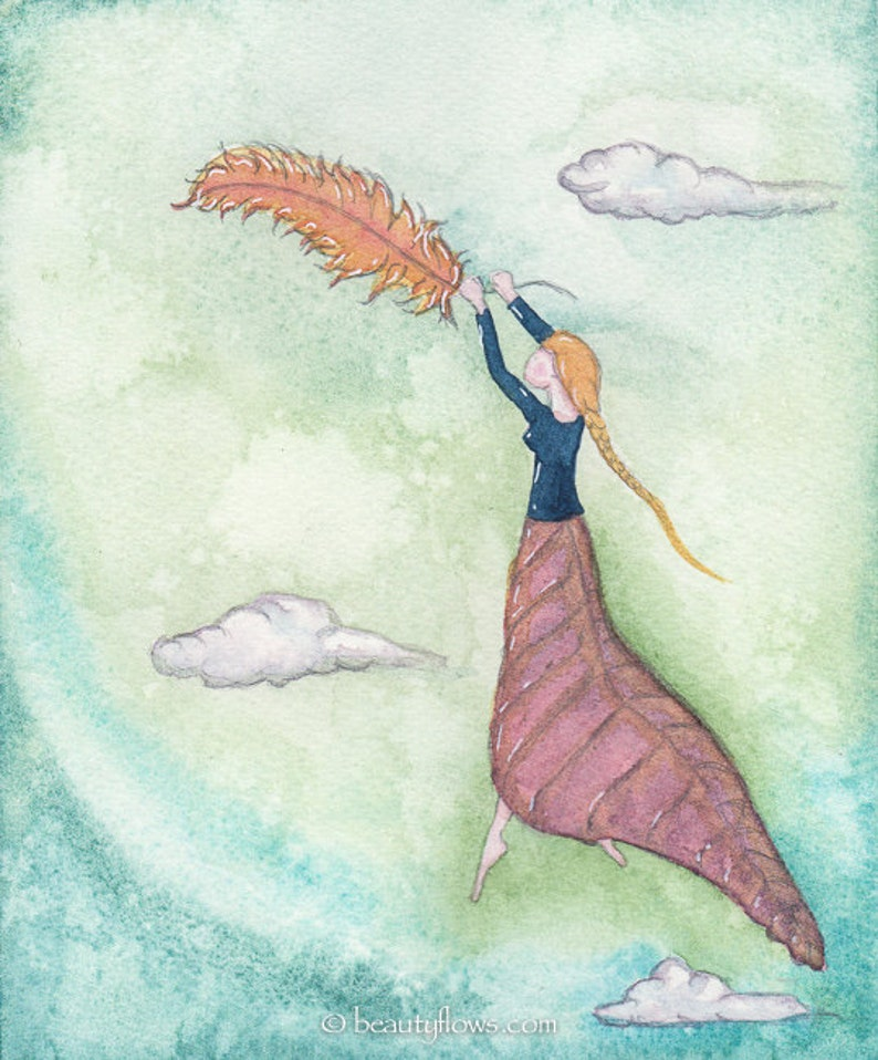 Magical Flight Flying on a Feather Peaceful Feeling OOAK image 0