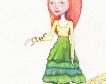 Charlotte and Friends, Whimsical art Greeting Card or Photographic Print