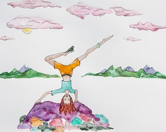 Half Star Sirsasana, Montana rocks, Upside Down, Yoga, Playful Greeting Card or Photographic Art Print