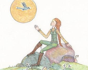 She talks to the Birds, listens to the birds, enjoys natures wisdom, Original Painting, OOAK