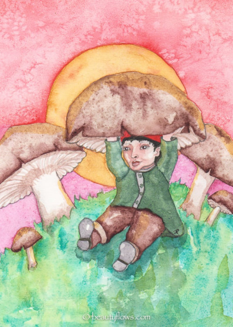 Gnome Fairy Tale Hiding under a Mushroom Greeting Card or image 0