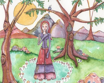 Fairy Ring, Fairy Circle, Pixie Ring, Elf Ring, Wood Witch, OOAK, Original Watercolor Painting