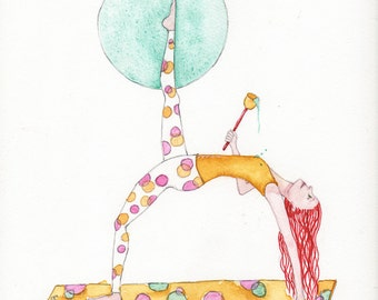 Yoga! Her Cup Runneth Over, Yogini Heart Opening Back Bend, OOAK, Watercolor Painting