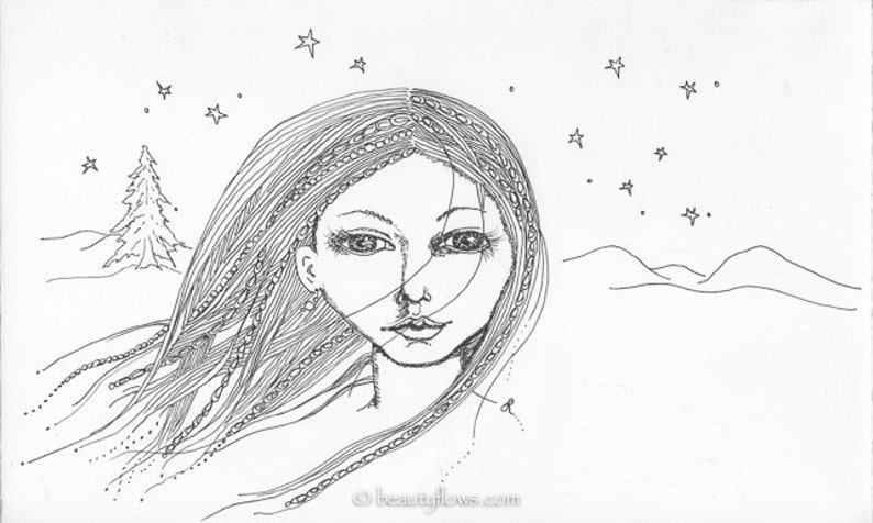 One Tree Under the Stars Woman in Nature OOAK Ink Drawing image 0