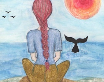 Meditation and prayer, Whales Totem, Ocean Totem, Peace on Earth, Greeting Card or Photographic Art Print