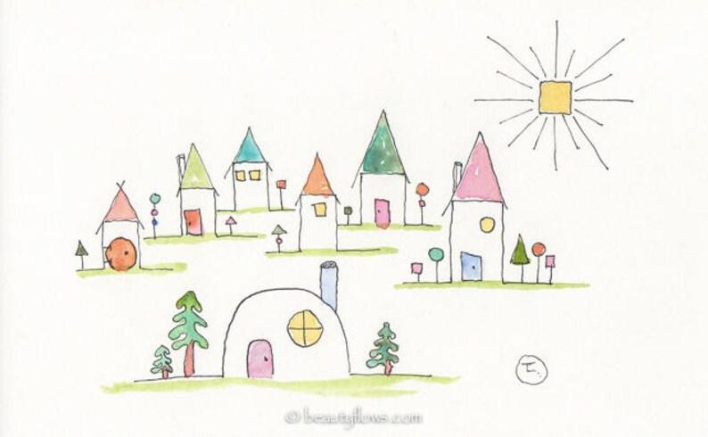 Tiny Houses Joyful art Greeting Card or Art Print image 0