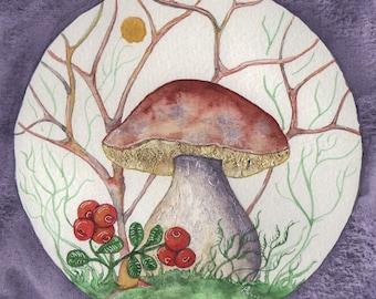 Bolete and Lingonberries, Magic Mushrooms, Fairy Mushroom, Original Painting