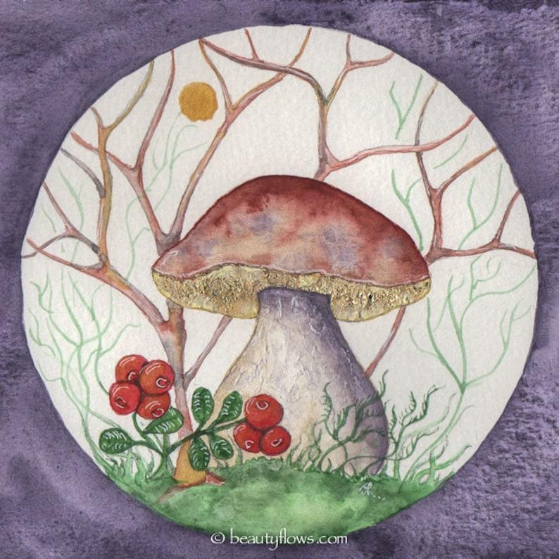 Bolete and Lingonberries Magic Mushrooms Fairy Mushroom image 0
