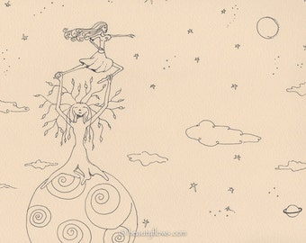 Reach For the Stars, Earth and Heavens, Whimsical Art, Greeting Card or Photographic Art Print