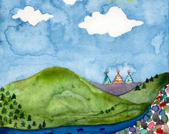 Montana Magical Landscape, Tipi's Among Mountans, Perfect Home, Tiny House, Wilderness Fantasy Landscape, Art Print