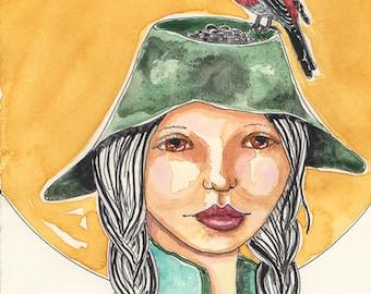Pine Grosbeak, Hat as a Bird Feeder, For Birders, Bird Lover Art, Greeting card or Print for Birders