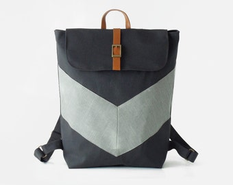Dark navy, GrayBlue chevron canvas backpack / Laptop bag / diaper bag.  7 inside pockets. Waterproof poly lining available