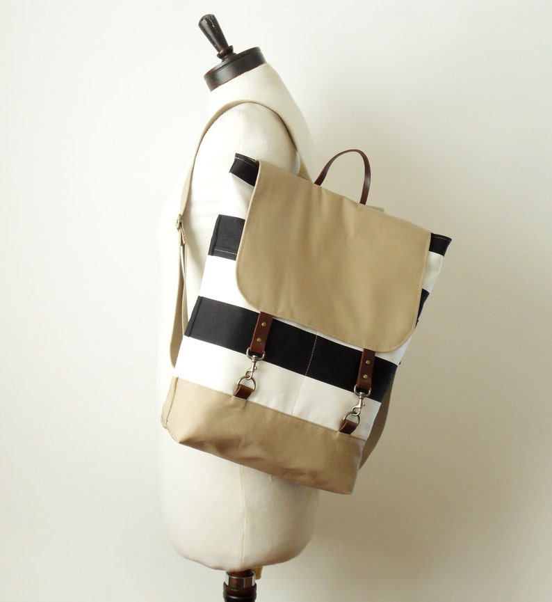 Multicolor chevron  Backpack laptop bag Design by BagyBags BEIGE diaper bag school bag with leather closure and 2 front pockets