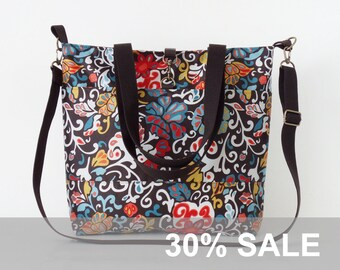 30% SALE . Waterproof, brown paisley Tote / Shoulder Bag / school bag / Diaper bag, with detachable strap.  Design by BagyBags