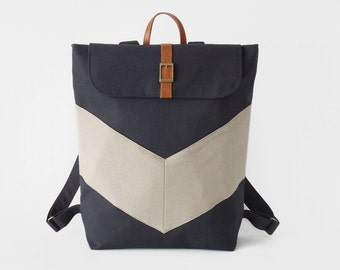 Dark navy, Oatmeal chevron canvas backpack / Laptop bag / diaper bag.  7 inside pockets. Waterproof poly lining available