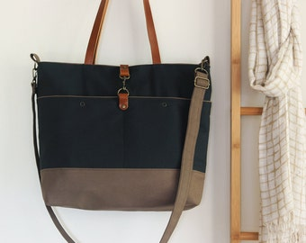 LARGE, Darknavy and choco brown front pocket tote / diaper bag / shoulder bag. 9 inside pockets. Waterproof lining available