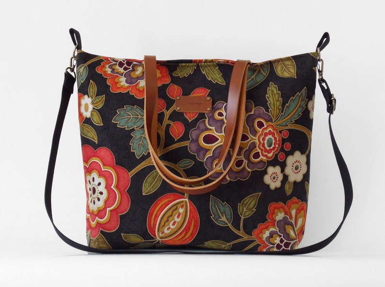 blossom tote  diaper bag  shoulder bag with detachable strap Waterproof lining available LARGE 9 inside pockets