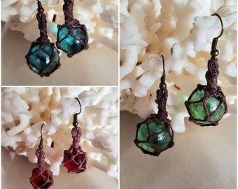 Miniature Fishing Float Earrings - Dark Wrapping - Multiple Colors - A Castaway Trading Original!