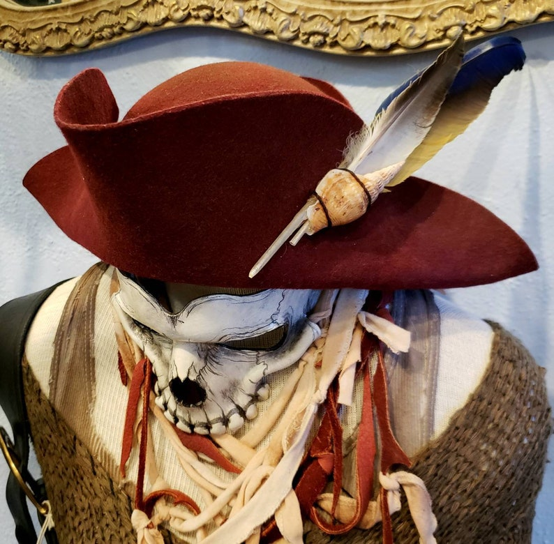 cb5772838 Burgundy Pirate Bicorn Hat - S/M Weathered with Macaw feather OOAK