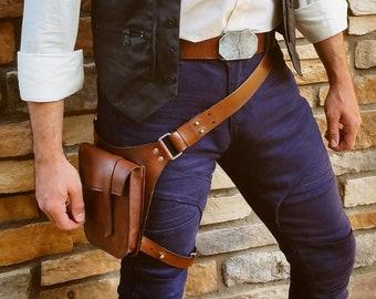 "The ""Smuggler"" Belt/Utility Pouch - Harness/Holster Bag - Brown or Black"