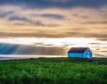 Sunrays and Sunset with a farm house near Husavik Iceland, Fine Art Photo