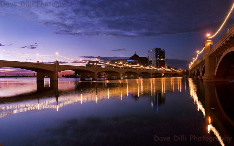 Photo Tempe Town Lake Night Reflections 2 - Fine Art Multiple sizes- Fine  Art Photograph